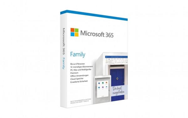 Microsoft 365 Family, 1 Jahres-Lizenz, deutsch, Box-Version