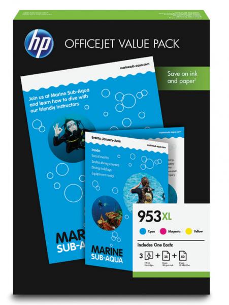 HP 953 XL Patronen-Bundle - 3 Patronen + 75 Blatt Papier
