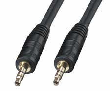 Audiokabel schwarz, 2 x 3.5 mm, 5.0 m, stereo