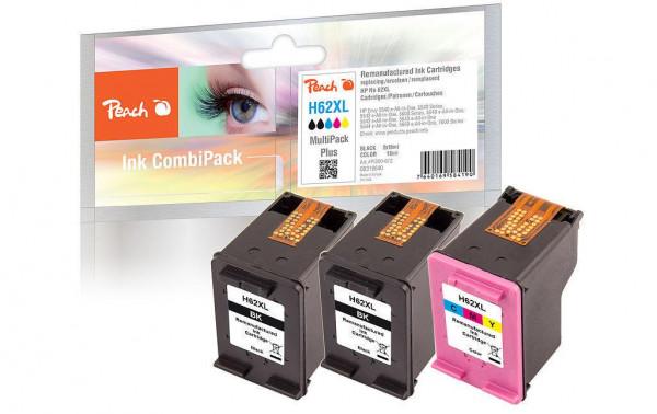 Peach Tintenset kompatibel mit HP No. 62 (2 x black + 1 x color XL)