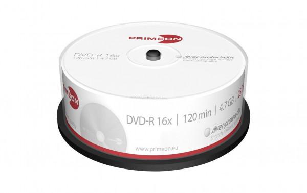 DVD-R 4,7 GB, 16x beschreibbar, 25er Spindel, Primeon, weiss