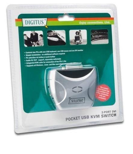 KVM Switch für 2 PCs inklusive Kabel, DVI + USB + Audio