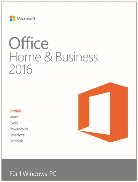 Microsoft Office 2016 Home & Business, Vollversion, deutsch, PKC, 1 PC