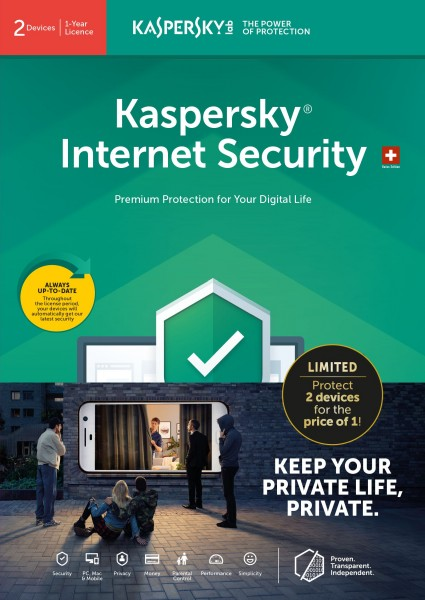 Kaspersky Internet Security, Lizenz für 2 PC (Vollversion)