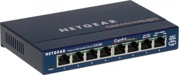 Netzwerk-Switch 8 Port 10/100/1000 (Gigabit), NETGEAR GS108, Occasion
