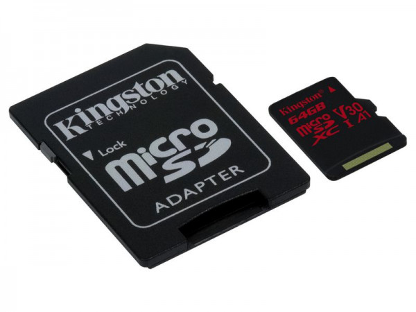 64 GB microSDXC-Card inkl. Adapter auf SD-Card, Kingston, UHS-I