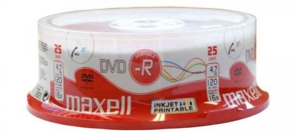 DVD-R 4.7 GB, 16x, 25er Spindel, bedruckbar, Maxell