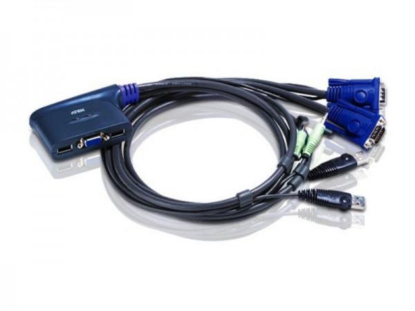 KVM Switch für 2 PCs inklusive Kabel, VGA + USB