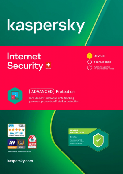Kaspersky Internet Security, Lizenz für 1 PC (Vollversion) + 1 Android