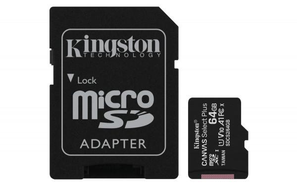 64 GB microSDXC-Card inkl. Adapter auf SD-Card, Kingston