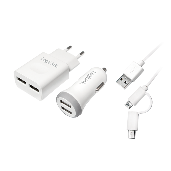 USB Ladegeräte-Set 12 + 220 V inklusive USB-Kabel