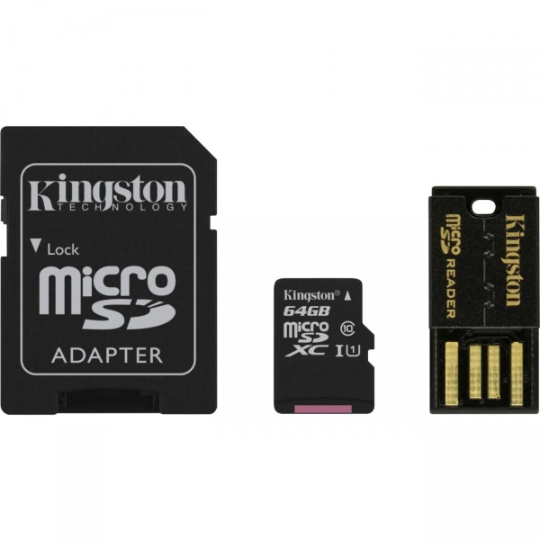 64 GB microSD-Card inkl. USB- und SD-Card-Adapter, Kingston