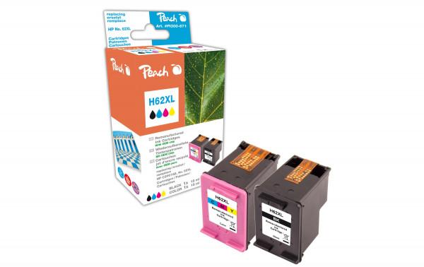 Peach Tintenset kompatibel mit HP No. 62 black + color XL