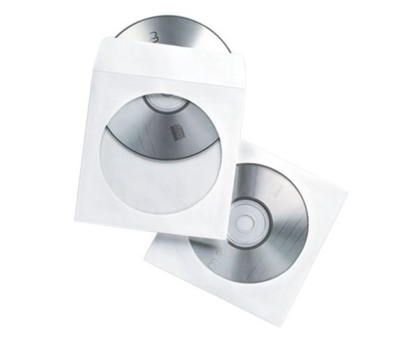 Papierhüllen für CD/DVD, 50 Stück, hama, weiss