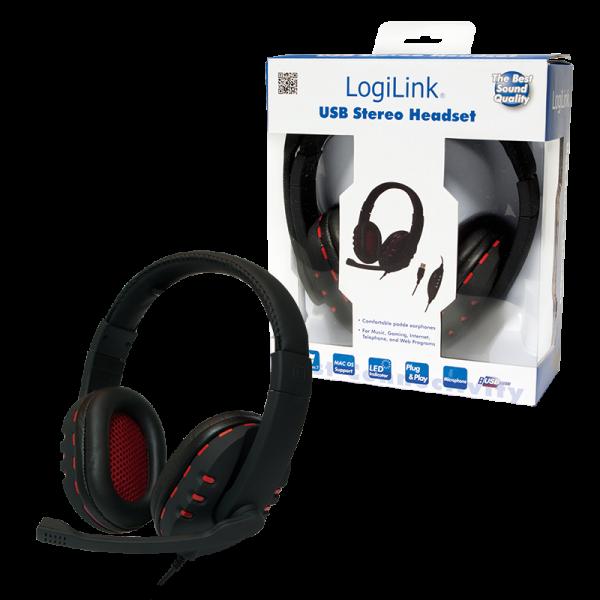 Kopfhörer mit Mikrofon (Headset), USB, Logilink HS0033