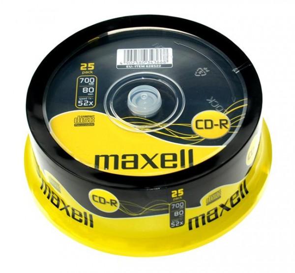 CD-R 700 MB, 52x beschreibbar, 25er Spindel, Maxell